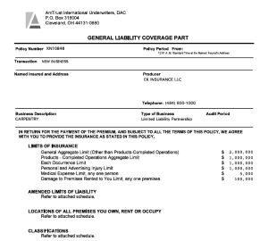 Commercial General Liability Declarations