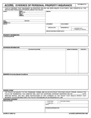 Acord  Evidence Of Personal Property Insurance Form