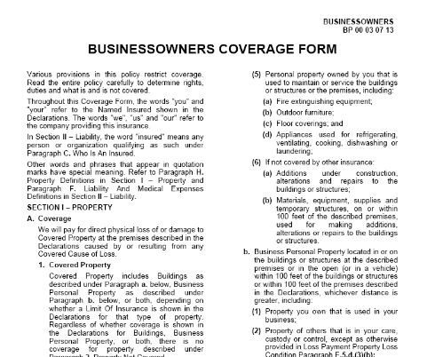 Property - Section 1 - Businessowners Coverage Form