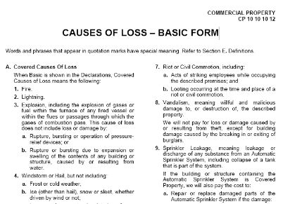 Causes Of Loss - Basic Form