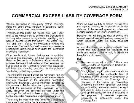 Commercial Excess Liability Coverage Form Cx 00 01 04 13