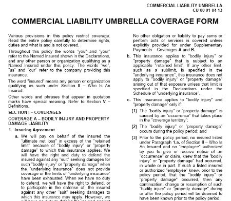 Commercial Liability Umbrella Coverage Form Cu 00 01 04 13
