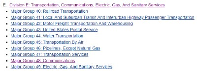 Transportation, Communications, Electric, Gas, And Sanitary Services - SIC Division E - For Commercial Insurance