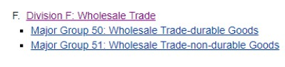 Wholesale Trade - SIC Division F - For Commercial Insurance